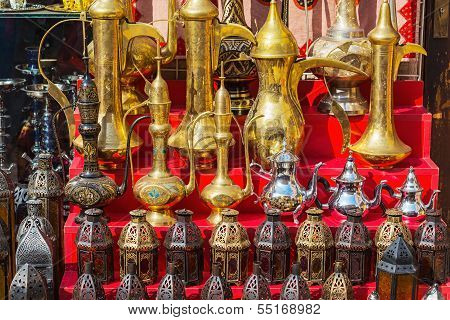 Traditional Coffee Pots And Lamps At The Souq In Dubai.