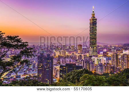 TAIPEI, TAIWAN - JANUARY 9: Modern office buildings in the Xinyi District including Taipei 101 January 9, 2013 in Taipei, Taiwan. Taipei 101 is currently the world's 2nd tallest skyscraper.