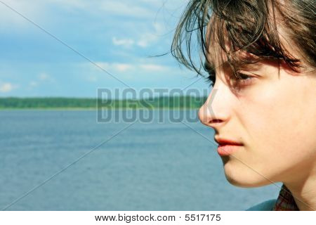 Girl Looks In Distance, Lake, Nature
