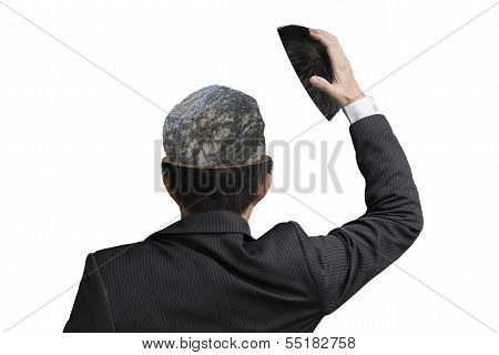 Hard Stone Covered With Lines Inside Businessman Head In Wihte Background