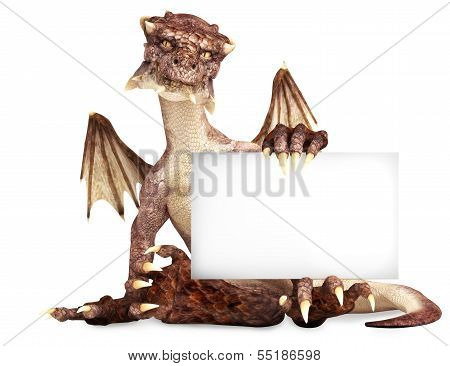 Fantasy dragon holding advertisement blank card, room for text or copy space poster