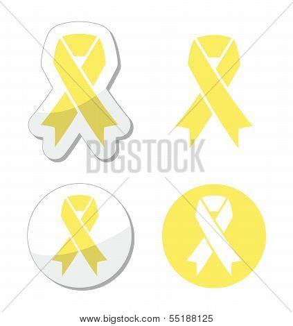 Pale yellow ribbon -ymbol of spina bifida