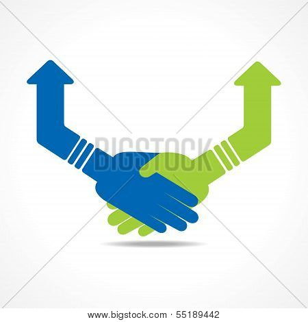 Green and blue Hand shake arrows