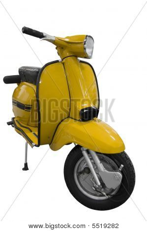 Vintage Black And Yellow Scooter (path Included)