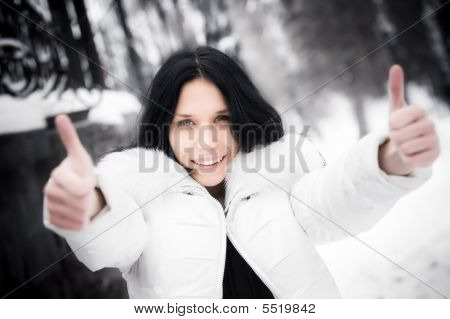 Happy Woman Showing Excellent Handsign