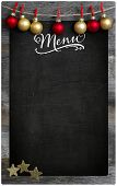 Special Merry Christmas and New Year`s restaurant bistro menu design on vintage wooden blackboard with copy space poster