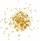 Golden confetti in star shape isolated on white poster