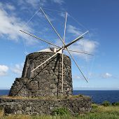 Old windmill on the island of Corvo Azores archipelago Portugal poster
