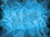 Abstract blue background design with light and dark polygons poster