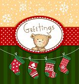 Seasons Greetings - cute greeting card with Teddy bear poster
