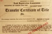 Photo of 1961 transfer certificate of title poster