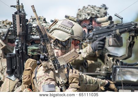 Wroclaw, Poland - May 10. 2014:us Marines On Military Show On May 10, 2014 In Worclaw, Poland
