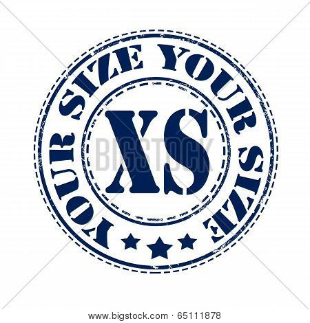 your size xs grunge stamp with on vector illustration poster