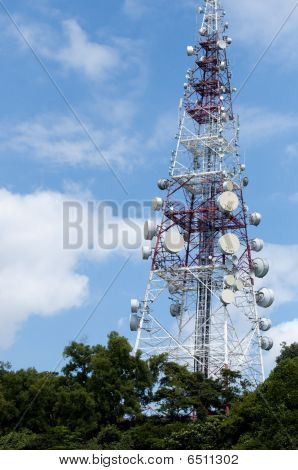 Red and White Radio Tower