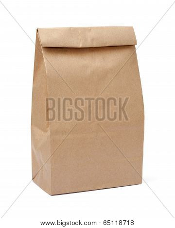 Brown Lunch Bag With Clipping Path