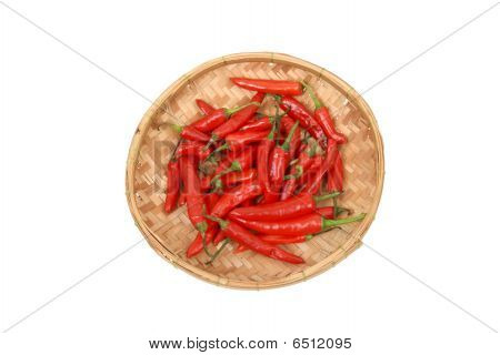 Red Chillis In Bamboo Tray - Top View