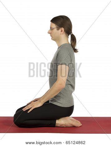 Man In Hero Pose In Yoga