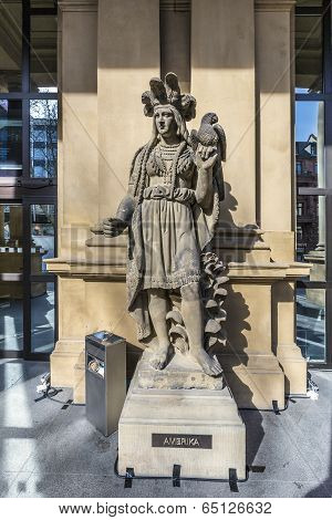 FRANKFURT, GERMANY - MAY 7, 2013: statue at frankfurt stock exchange that symbolizes the american continent