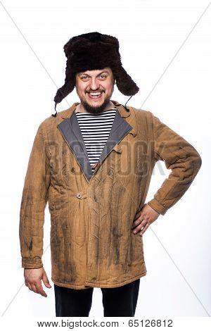 Happy crazy russian man smiling