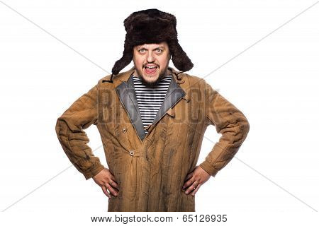 Angry russian man screaming