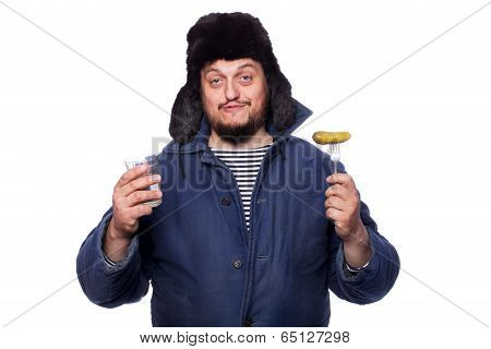 Happy, peaceful russian man offering a vodka and appetizer, cheers