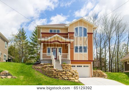 Craftsman style suburban home poster