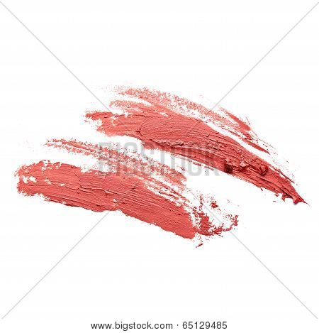 Smudged red lipstick isolated on white background poster