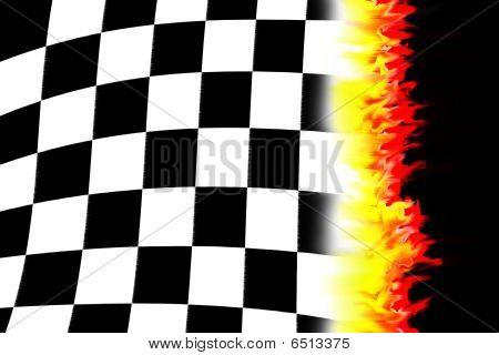 Burning Racing Flag