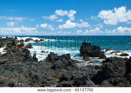 Volcano Rocks On Beach At Hana On Maui Hawaii