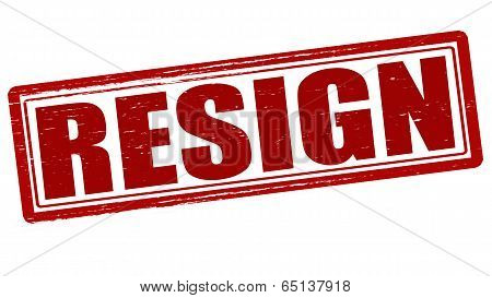 Stamp with word resign inside vector illustration