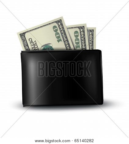 Black Leather Wallet With Money. Vector.