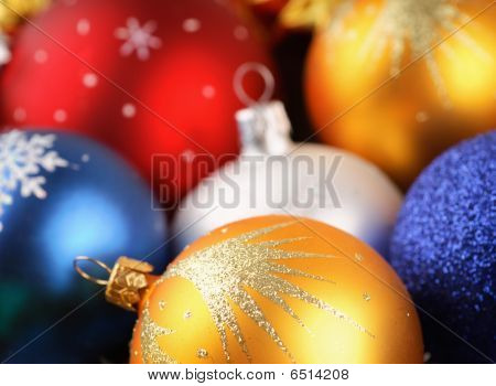 Closeup Of Christmas Balls Background