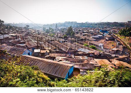 Panoriamic view of Kibera slums in Nairobi, Kenya. The largest slum of Africa is in Nairobi. About 270 thousand people living in Kibera.
