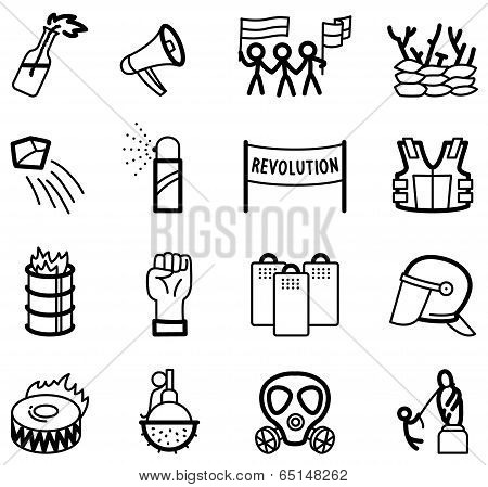 Collection of revolution icons set on white poster