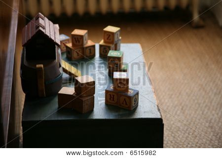 antique toys and blocks
