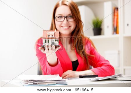 Little house toy in woman's hands