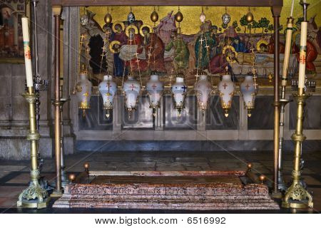 The Stone of the Anointing (The Stone of Unction) in Church of the Resurrection, Old City of Jerusalem, Israel poster