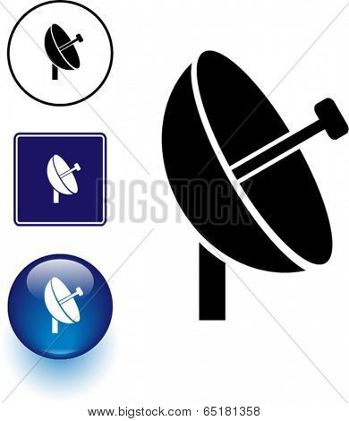 dish antenna symbol sign and button
