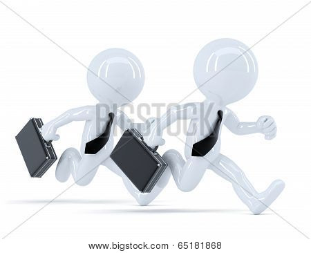 Running Businesspeople. Conceot Of Competition. Isolated. Contains Clipping Path