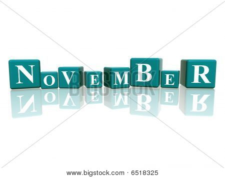 3d blue cubes with letters makes november poster