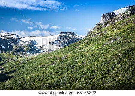 Mountain scenery in Jotunheimen National Park in Norway poster