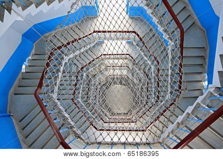 NANTOU COUNTY, TAIWAN - DECEMBER 30 : Spiral Staircase with rope netting inside the Ci En Pagoda at Sun Moon Lake on December 30, 2011 in Nantou County, Taiwan
