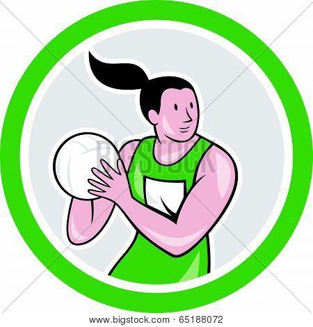 Netball Player Catching Ball Circle Cartoon