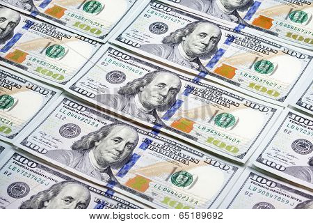 Heap Of One Hundred Dollar Banknotes