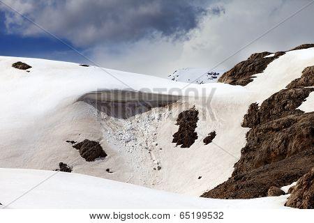 Snow cornice in spring mountains. Turkey Central Taurus Mountains Aladaglar (Anti-Taurus) plateau Edigel. poster
