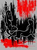 two black panthers on red and grey background grunge poster