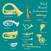 Set of various brass and woodwind instruments poster