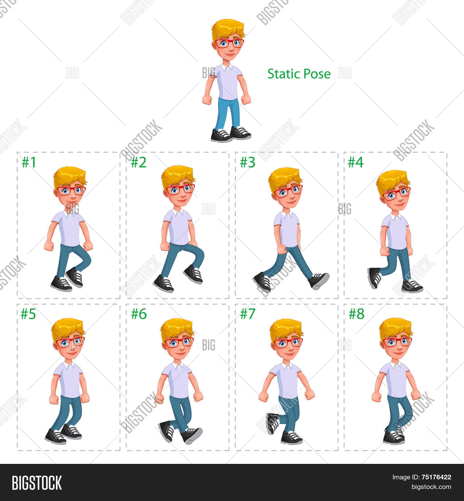 Animation Boy Walking Vector & Photo (Free Trial) | Bigstock