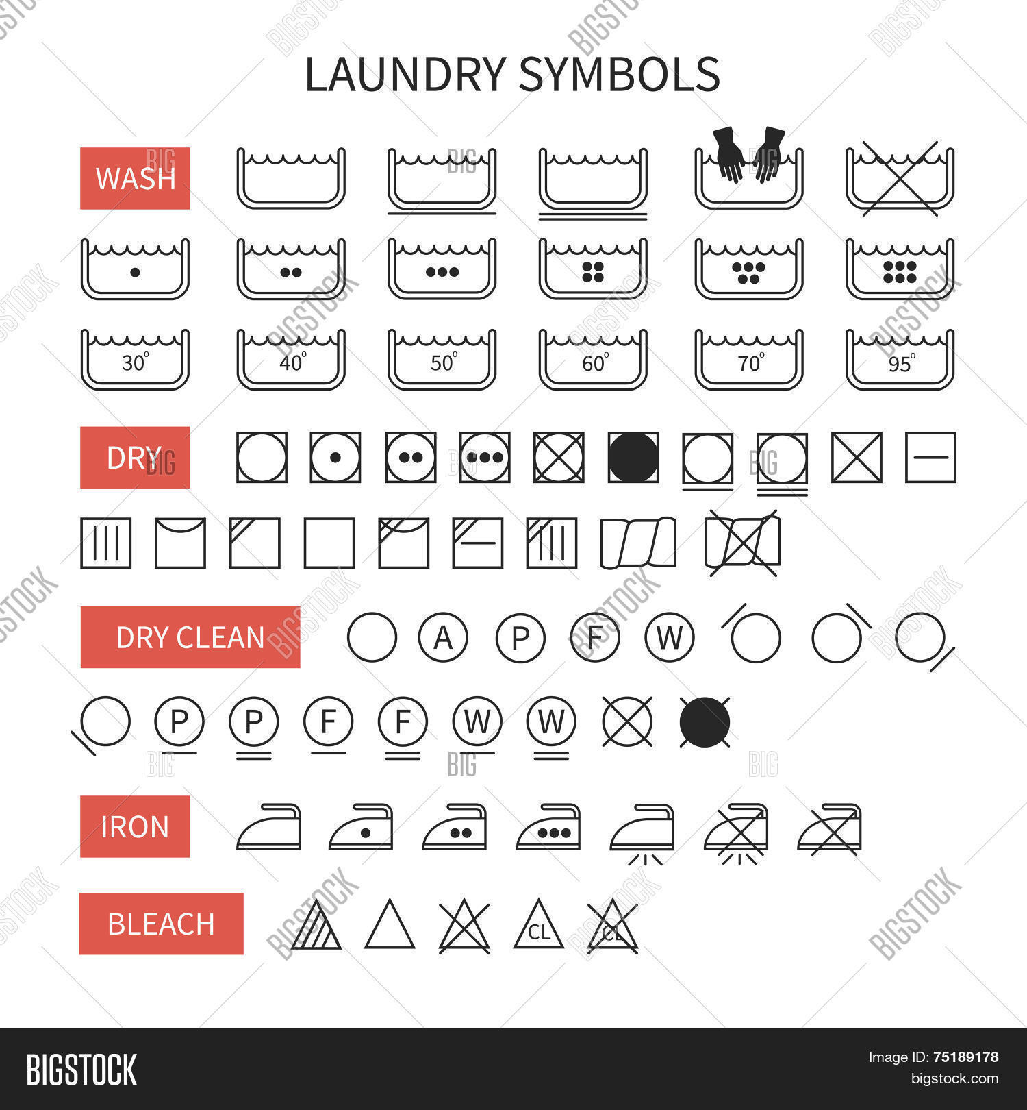Set line simple washing vector photo bigstock set of line simple washing instruction symbols undry icons in flat style clothing care biocorpaavc Images