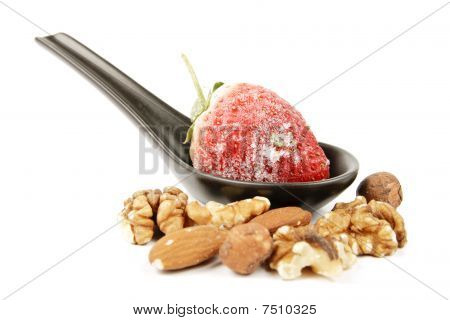Frozen Strawberry On A Spoon